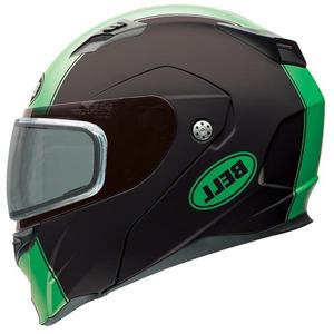 Bell Revolver Evo Rally Matte Green Modular Snowmobile Helmet with Dual Shield